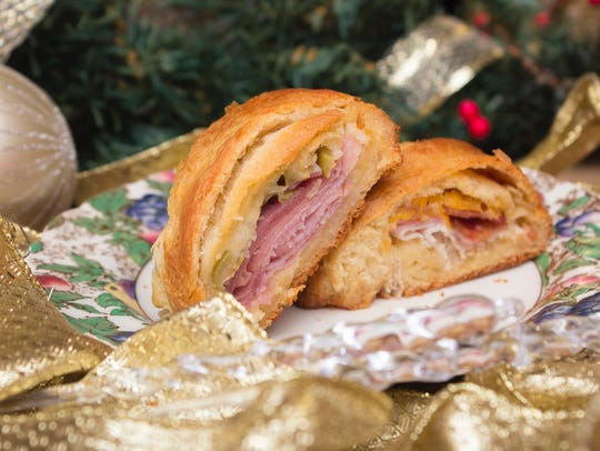 Muffuletta and club sandwich holiday wreath appetizers.