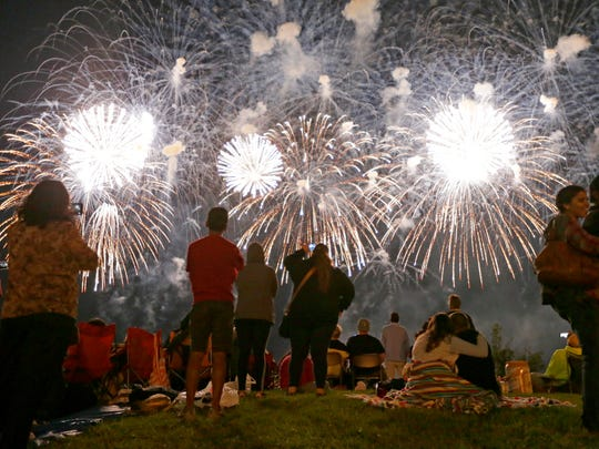 Onlookers watch the U.S. Bank Fireworks Show in downtown Milwaukee on July 3, 2017.