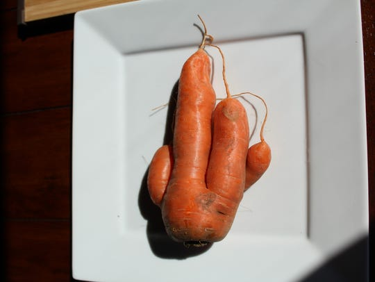 A weird carrot is among the vegetables that Jordan