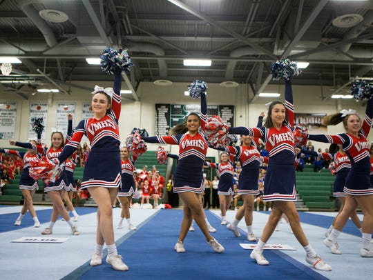 Veterans Memorial High School's cheer team performs