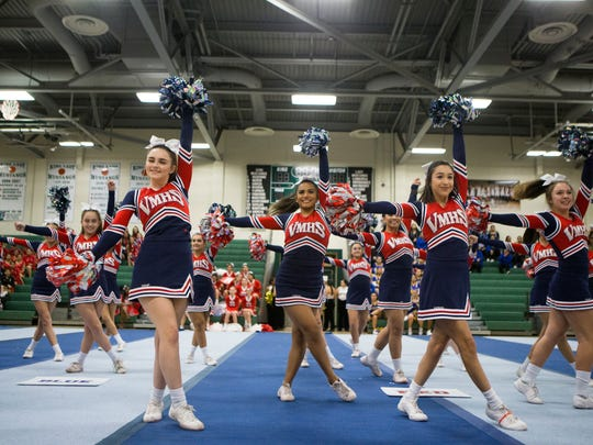 Veterans Memorial High School's cheer team performs during a mock cheer competition at King High School on Monday, Dec. 11,  2017.