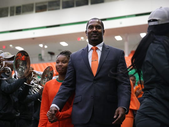 FAMU's Marching 100 welcomes new Head Football Coach Willie Simmons before a press conference held at the Al Lawson Center Tuesday, Dec 12.