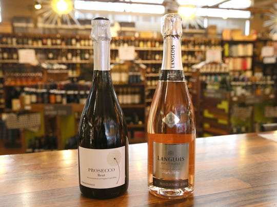 Indigenous NV Brut Prosecco from Italy (left) and Langlois NV Brut Rosé from France accompany the chocolate and strawberry dessert board.