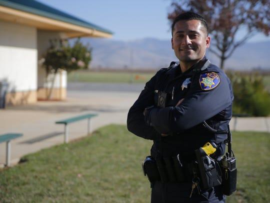 Officer Lino Sanchez at McKinnon Elementary School.