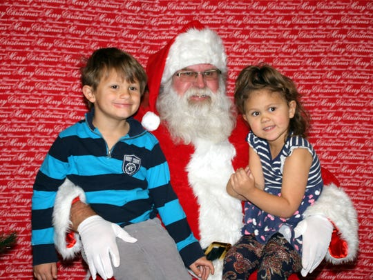 The Morrow children, Hunter and Brantley, visited with