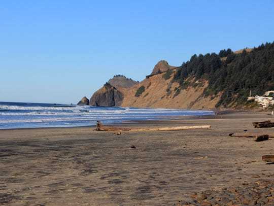 Road's End beach in Lincoln City looks up to God's