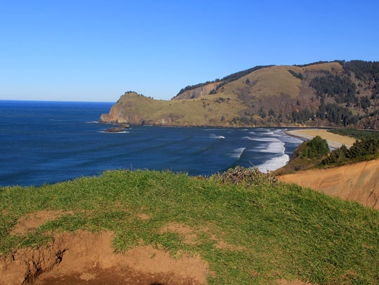 Views of Cascade Head from the summit of God's Thumb