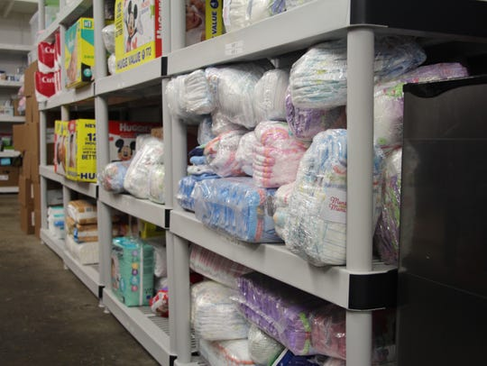 Stored in the organization's warehouse, diapers are