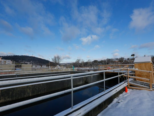 A pool of water at the Binghamton Johnson City Wastewater