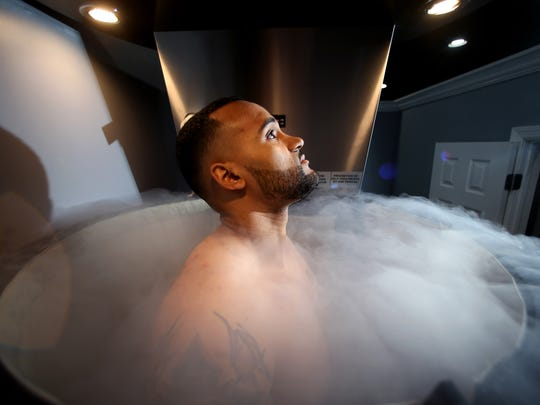 Schussler Ferguson of Wharton gets a treatment at about -256 degrees for three minutes in a whole body cryotherapy sauna at new-age Medi-Spa Below Body Bar, specializing cryotherapy using cutting edge subzero temperature treatments for recovery and weight loss. April 7, 2017, Rockaway, NJ