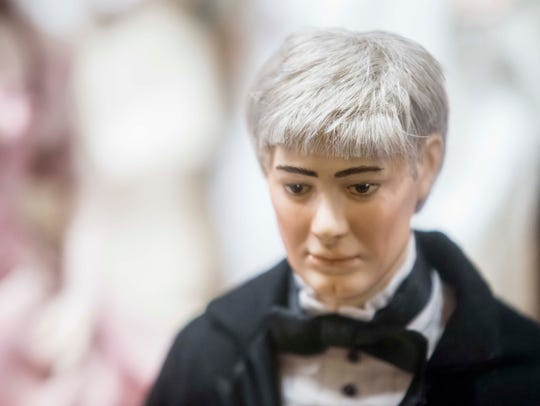 A doll for First Spouse Kevin Reynolds was unveiled Wednesday, Dec. 20, 2017, at the Iowa State Capitol.