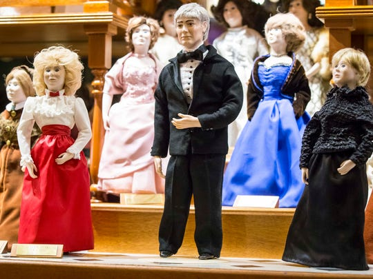 In a break with a decades-long tradition, the Reynolds administration has changed the face of the first spouse doll. For the first time, the doll will have the face of First Spouse Kevin Reynolds, not former First Lady Billie Ray during a ceremony Wednesday, Dec. 20, 2017, at the Iowa Statehouse in the First Doll Display CaseThe display case was unveiled on Dec. 28, 1976. Reynolds will be the fifth doll added since the displayÕs inception.The public is invited to attend the doll unveiling. First spouse Reynolds was joined by Capitol tour guide Joan Arnett for the event.