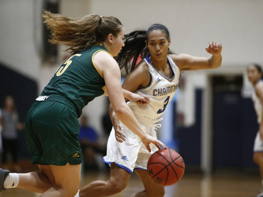Kali Benavente, stays stride for stride on defense