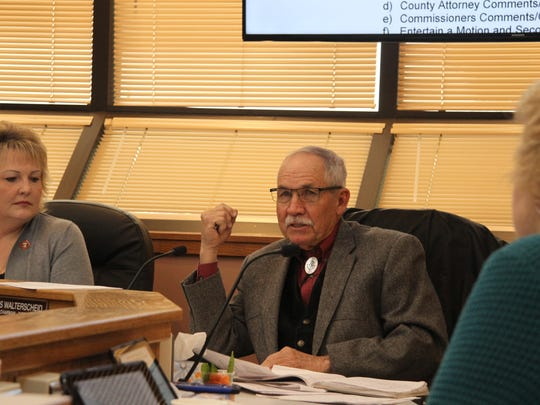 Commissioner Vice Chair James Walterschied discuss the  Eddy County Solid Waste, Illegal Dumping and Nuisance Ordinance on Tuesday Jan. 2, 2018.