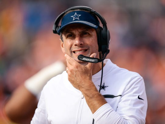 Dallas Cowboys wide receivers coach Derek Dooley  against