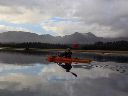 Ginnette Marberry kayaks the Nehalem River on the Oregon Coast.