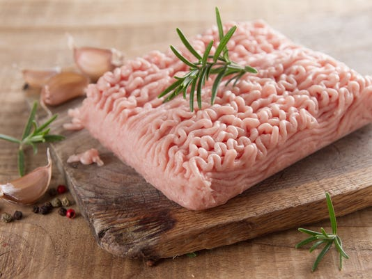 Minced chicken or turkey meat