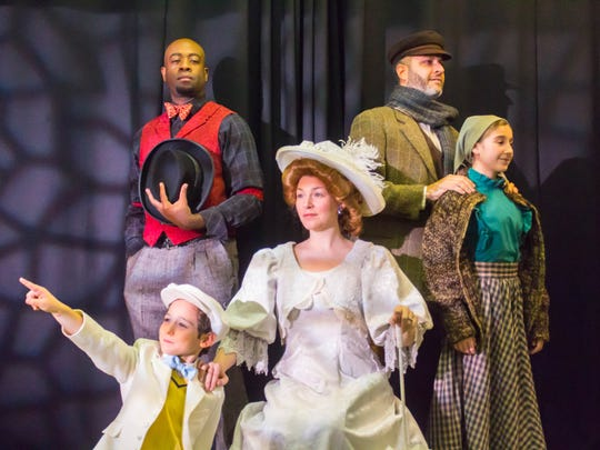 Kyrus Keenan Westcott as Coalhouse; Nicky Intieri as Little Boy; Megan Ruggles as Mother; Fernando Gonzalez as Tateh Sara Chesnick as Little Girl in 'Ragtime' at the Ritz Theatre Company.