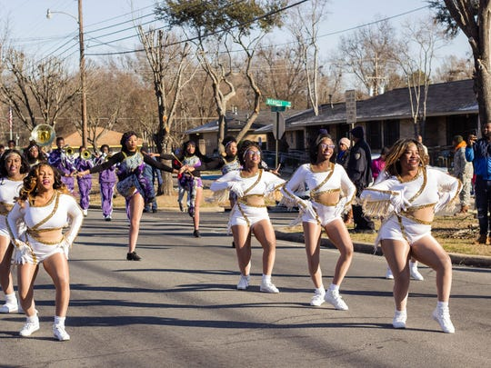 Wossman High School Marching Band and Dancers entertain at the 34th Annual Martin Luther King Jr. parade in Monroe.