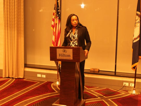 Del. Jennifer Carroll Foy, D-Woodbridge speaking at a reception at the Richmond Hilton for the NAACP.