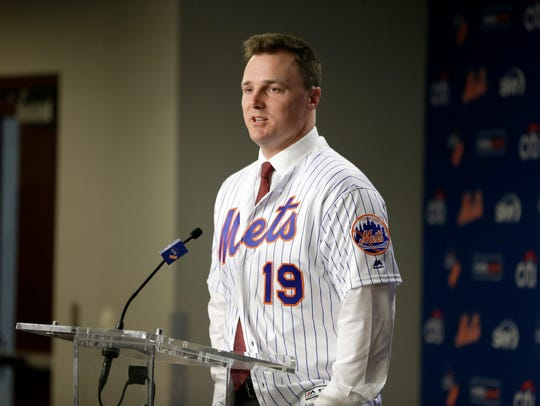 New York Mets' Jay Bruce speaks during a news conference