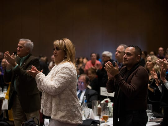 People clap during the Dr. Hector P. Garcia birthday celebration luncheon Wednesday, Jan. 17, 2018, at the American Bank Center.