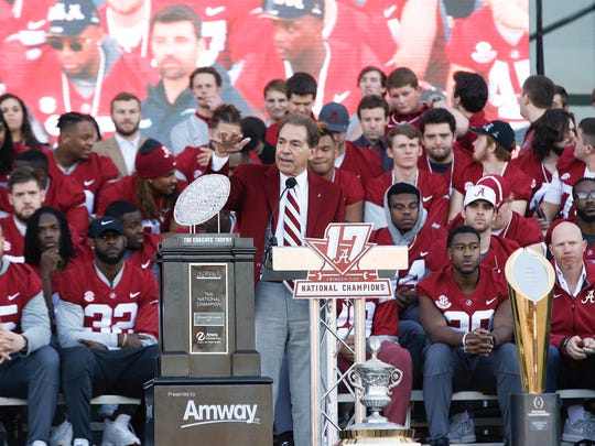 Alabama head coach Nick Saban speaks to fans during the NCAA college football national championship celebration, Saturday, Jan. 20, 2018, in Tuscaloosa, Ala. Alabama won the national championship game against Georgia 26-23 in overtime. (AP Photo/Brynn Anderson)