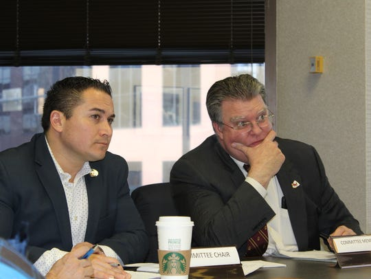 Commissioners Mario Chavez, left, and Doug Dominick,