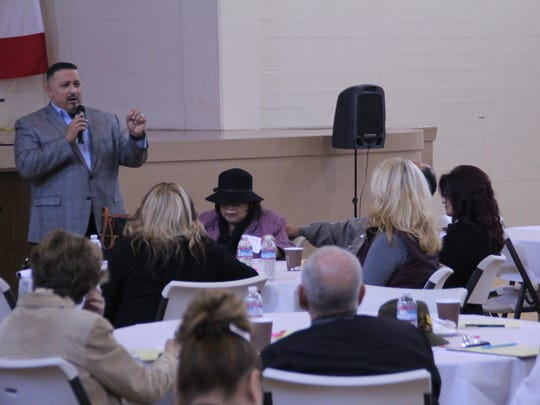 Jose Arreola speaks at a conference on how faith leaders can reduce crime in Salinas Thursday.