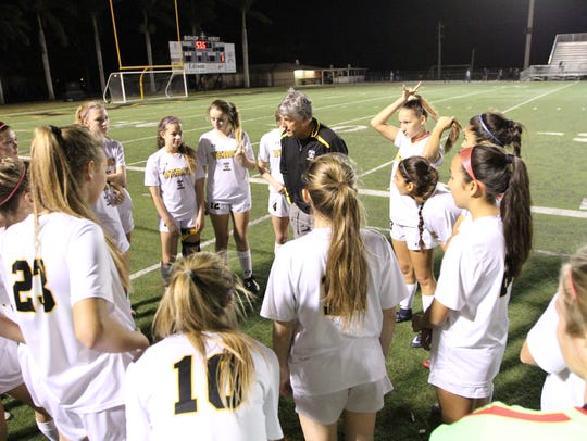 Bishop Verot girls soccer team talks before it faces