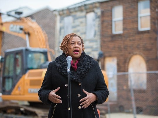 Wilmington City Council President, Hanifa Shabazz speaks at a press conference where long vacant buildings at 50 and 52 East 22nd Street were demolished Monday morning to make way for affordable housing for first-time homeowners.
