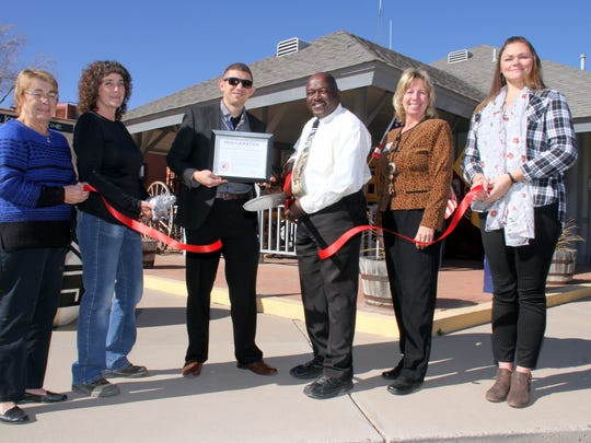 Pictured from left are, Deming-Luna County Chamber of Commerce members Ellen O'Connell, Debra French, Chamber President-Elect Greg Morrow, Wacinque Amistad Kaizen BeMende of KaizenRhino Solutions International Consultancy, Chamber Executive Director Laurie Findley and Chamber Business Manager.