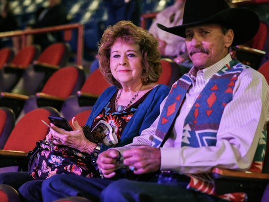 Janice Howell and Dennis Allison dressed well for the 2nd performance of the San Angelo Stock Show and Rodeo Saturday, Feb. 3, 2018, at Foster Communications Coliseum.