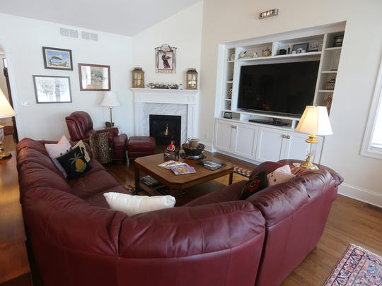 The living room in Don and Mary Alhart's new home in Pittsford.