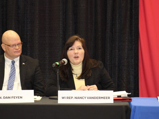 Wisconsin Rep. Nancy VanderMeer discusses issues impacting rural prosperity in Wisconsin during the first of several national Rural Prosperity Roundtables led by  Anne Hazlett, United States Department of Agriculture (USDA) Assistant to the Secretary for Rural Development at the Willmore Center at Ripon College on Feb. 5.