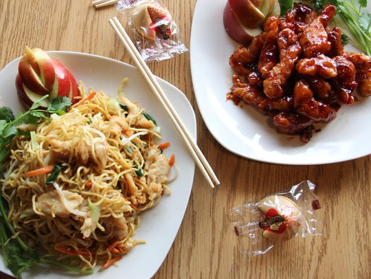 Chicken lo mein and General Tso's Chicken arrive with