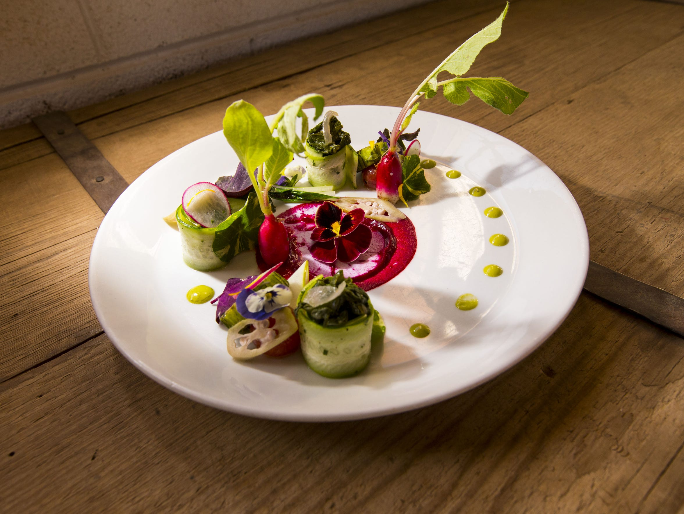 Executive Chef Dustin Christofolo's salad, Farmers Foraged, at Quiessence at The Farm at South Mountain in Phoenix.