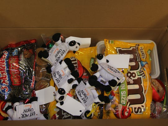 Sweets and other treats  in an Operation Yellow Ribbon care package being sent to U.S. troops abroad from  South Jersey