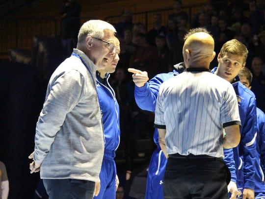 SDSU football coach John Stiegelmeier partakes in the