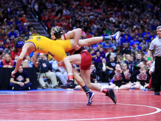 Cael Happel of Lisbon wins the state championship at