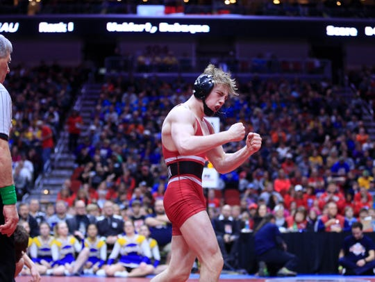 Cael Happel, a junior at Lisbon, is a two-time state champion in Class 1A. Happel will lead Lisbon into the State Duals next week at Wells Fargo Arena.