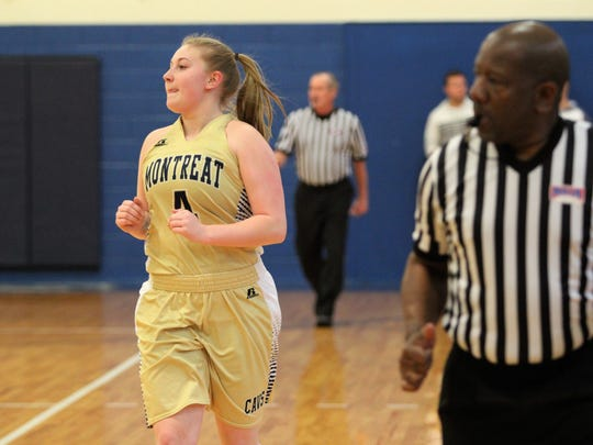 Hannah Calloway runs up the court in her final home game for Montreat College on Feb. 17.