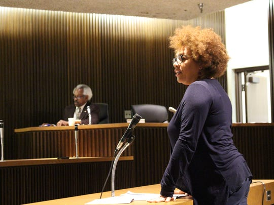 NECIC executive director Deanna West-Torrence speaks before Mansfield City Council on Tuesday, Feb. 20, 2018. She requested $51,428.40 to support the nonprofit's community gardens program.