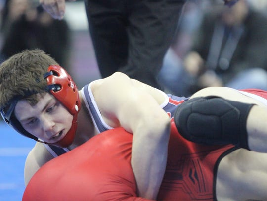 Connor Thorpe of Brookfield East battles with Chance