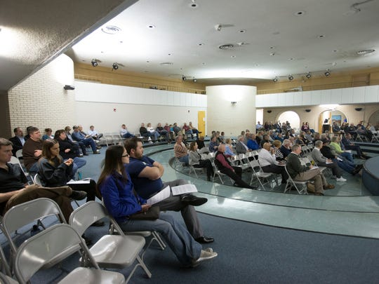 Over 100 people gather for the charter commission's second town hall meeting on consolidated government on Feb. 22, 2018.