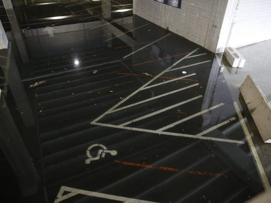 Floodwaters reached the parking garage at Paul Brown