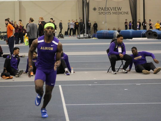 Lely graduate Richard Annorat won the Michigan Intercollegiate Athletic Association high jump title at the league's indoor track meet Saturday, Feb. 24, 2018. Annorat also finished second in the triple jump and sixth in the long jump, helping his Albion College squad take fourth place as a team.