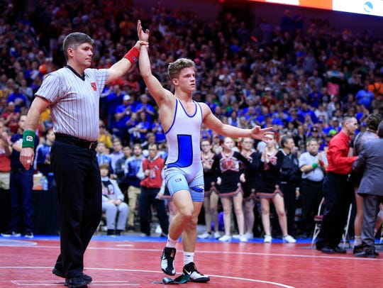 Alex Thomsen of Underwood wins the state championship
