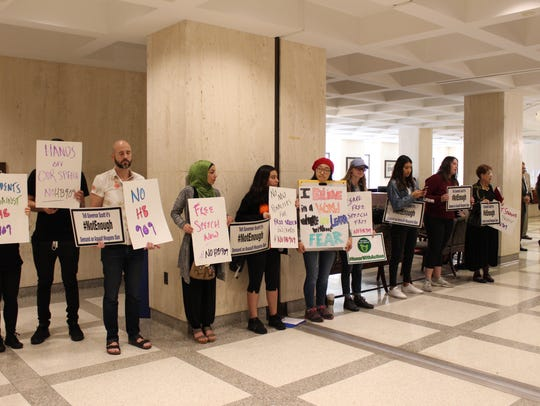 Students from all over Florida, lined the hallway with signs leading to the House of Representatives.