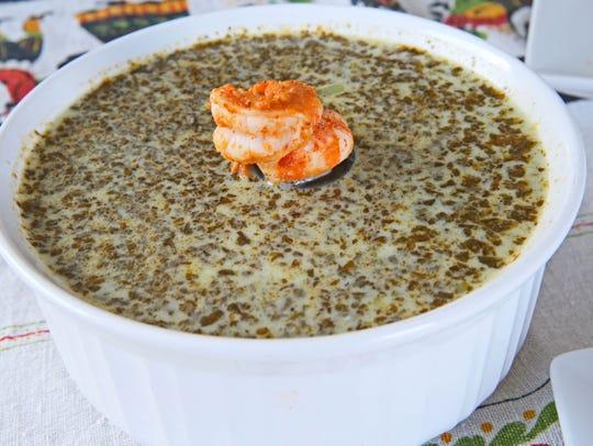 Basil Pesto Shrimp Soup is a make-ahead dinner item.